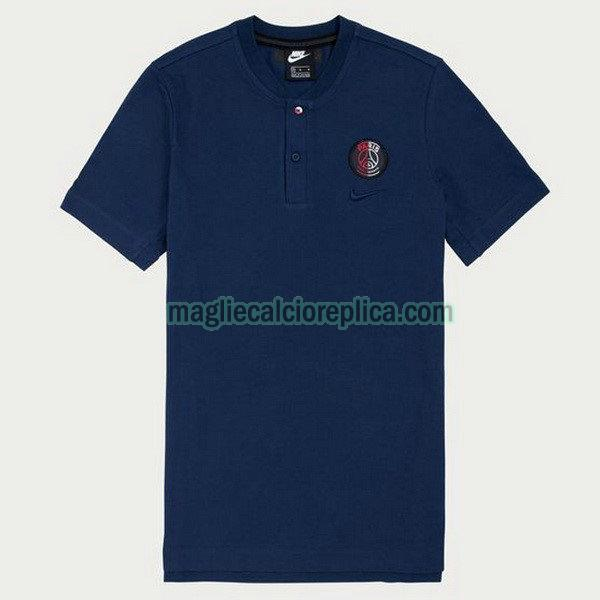 paris saint germain maglie polo calcio 19-20 blu marina uomo